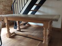 solid oak farmhouse style kitchen dining table