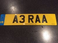 A3RAA private number plate