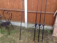 Carp rods and reels x3 brand new