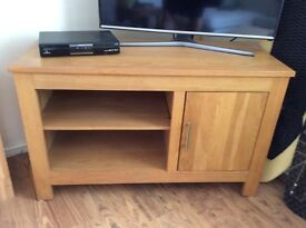 Large solid oak TV stand