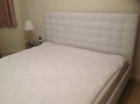 White Faux Leather Superking size bed