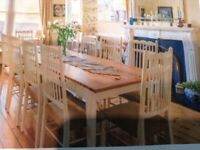 French Oak Farmhouse style large dining table with 10 chairs