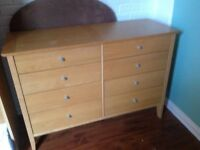 8 drawer chest of drawers - oak style wooden