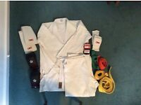 Karate kit including suit, pads and belts