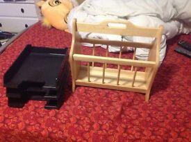 Real wood magazine rack and desktop file organiser