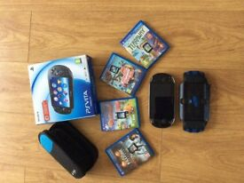 PS Vita with 4 games and travel case