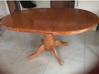 Solid pine wood dining table(extendable) with six chairs