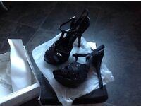Party Christmas ladies black heels size 5 uk38 bnib dance heels
