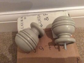 1 Pair of Laura Ashley Curtain Finials. Dove Grey 45mm. New