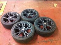 """Wolfrace lightweight Trackday 5x120 staggered 18"""" alloy wheels & tyres BMW E46 E36 X3 X6"""