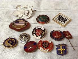 12 assorted enamel badges includes a couple of miners badges £15