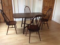 Vintage ercol dining table and 4 chairs.