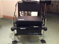 Fishing seatbox, adjustable highs, 2 draws, storage compartment, back rest.
