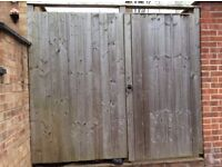 Treated timber fence unit with gate.