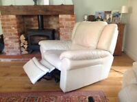 Cream Leather Reclining Armchair - Excellent Condition