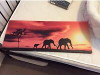 Large landscape canvas. Elephant print. Sunset