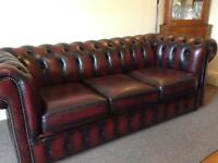 Chesterfield leather sofa and chair