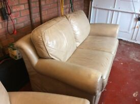 Beige leather sofas. 2 small leather sofas. Ideal for the smaller lounge. One careful owner