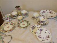 Assorted china tea set