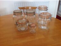 6 Kilner storage jars with lids of varying sizes