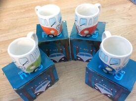 4 x VW campervan mugs brand new