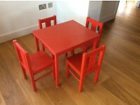 Children's table and 4 Kritter chairs, red, Ikea