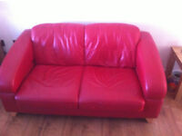 2 seater red leather sofa