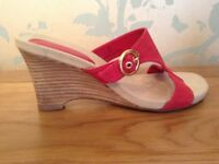 Women's Red Suede Wedge Sandals by Footglove Size 6 NEW