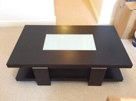 Solid black Ash wood coffee table with frosted glass panel and silver detailing