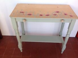 Victorian side table with poppy decoration