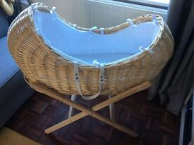 Moses Basket & two stands for sale.