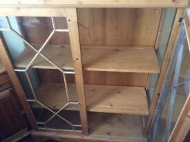 Pine display cabinet, glass doors and sides, lock and key