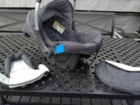 Silver cross baby car seat immaculate condition including changing bag, cosy toes and head cushion