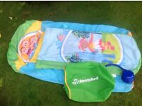 Fab 'in the night garden' ready bed blow up camping / overnight bed with bag and pump - great cond.