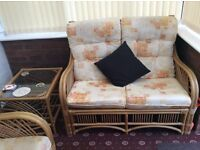 conservatory cane furniture two seater, 1 single chair and table