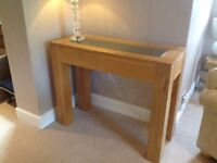 Solid oak console table with glass inlay