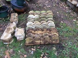 Scalloped concrete garden edging buff coloured (weathered)