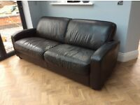 Brown leather sofa - free to a good home