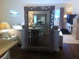 Beautiful large hand carved mango wood mirror . landscape or portrait . 177cm x 120cm