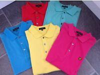 5 Lyle & Scott Short sleeve Polo Shirts - Size Medium