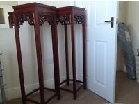 Pair of mahogany/rosewood plant/lamp stands