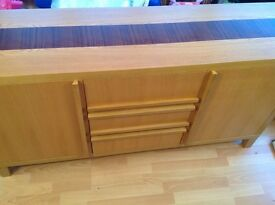 OAK SIDEBOARD/UNIT & MATCHING NEST OF TABLES