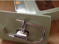 New in box toilet roll holder chrome / white