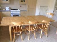 IKEA birch dining table, bench and 5 chairs