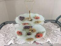 Floral Glass 2 Tier Cake Stand.
