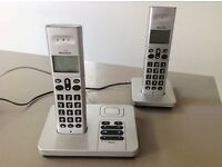 Binatone telephone + answer machine 1820 Twin silver cordless with 2 handsets £15 plus £2.70 postage