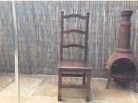 Set six solid oak dining chairs
