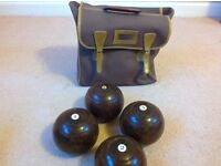Set of 4 Crown green bowls together with quality carry case, in good condition. Size 5, 1/8