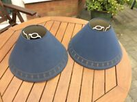 Pair of blue/grey lampshades