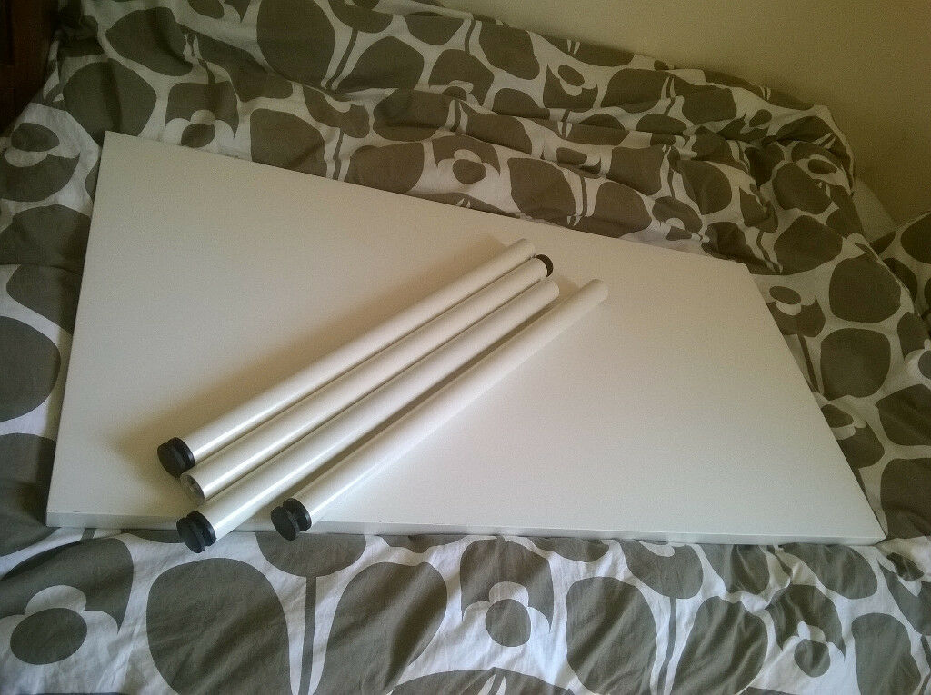 Ikea White Table with 4 White Legs